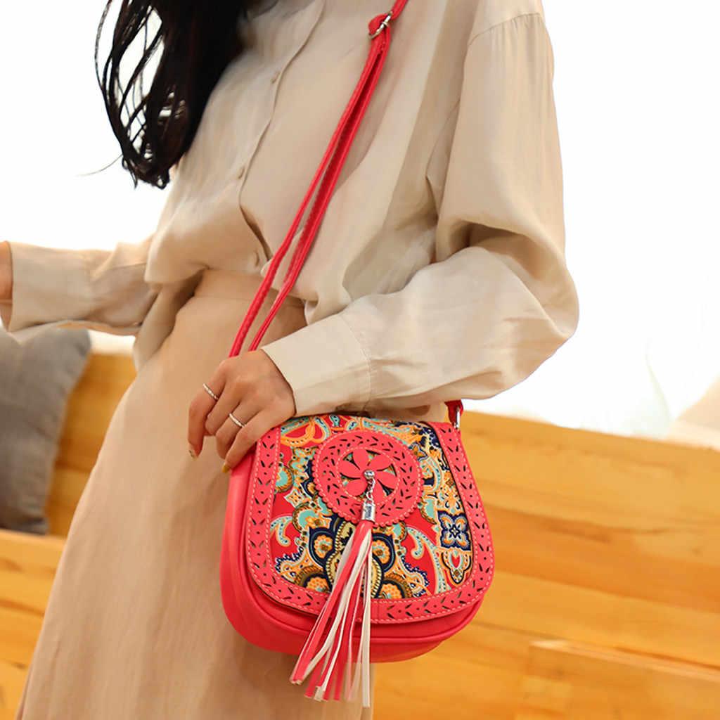 Bohemen Vrouwen Etnische Schoudertas Kwastje Lederen Handtas Elegante Vrouwelijke Fringe Vierkante Messenger Bag Vintage Cover Crossbody