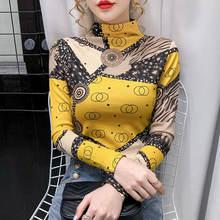Осенне зимняя новая модная футболка с принтом и полувысоким