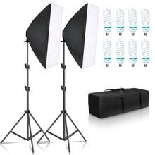 Fotografia di Illuminazione 50x70CM Quattro Lampada Softbox Kit E27 Supporto Con 8pcs Lampadina Soft Box AccessoriesFor Foto studio Video