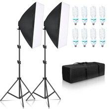 Iluminación de fotografía Kit de Softbox de cuatro lámparas de 50x70CM soporte E27 con 8 Uds. De bombilla, accesorios de caja blanda para estudio fotográfico y vídeo