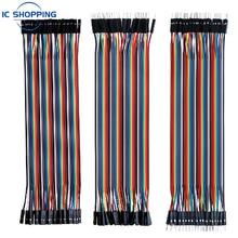 Cable de puente DuPont para Arduino, Cable de Conexión macho a macho + hembra a hembra y macho a hembra, 40 Uds.