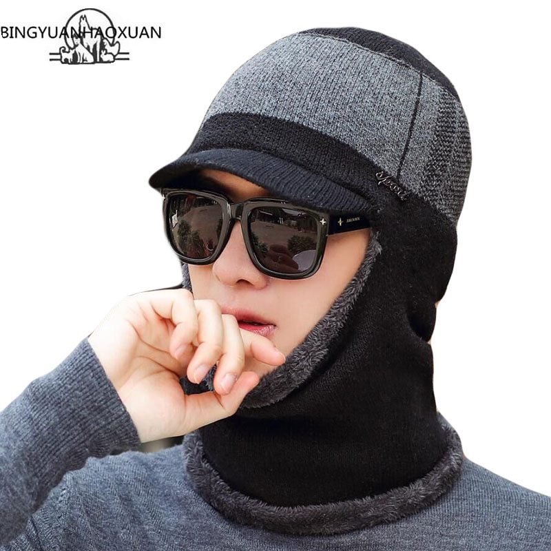 Winter Beanie Hat For Men Knitted Cap Thick Wool Neck Scarf Balaclava Mask Bonnet Hats Gorras