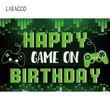 Laeacco – arrière plan pour joyeux anniversaire, Console de jeu, thème de dessin animé, pour photographie, accessoires pour réception cadeaux pour bébé, pour Photophone, pour nouveau né