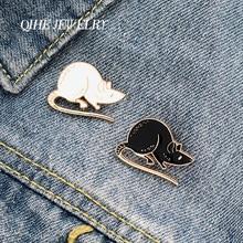 QIHE – broche souris en émail pour Couple, bijoux, broches d'animaux mignons, Badges, épingles à la mode, cadeaux pour amis, vente en gros, noir et blanc