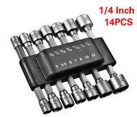 14 pces 1/4 Polegada hex shank power nut driver broca conjunto sae métrica chave de soquete parafuso chave de fenda lidar com ferramentas sem magnético|Kit de resgate de emergência p/ carros|Automóveis e motos -