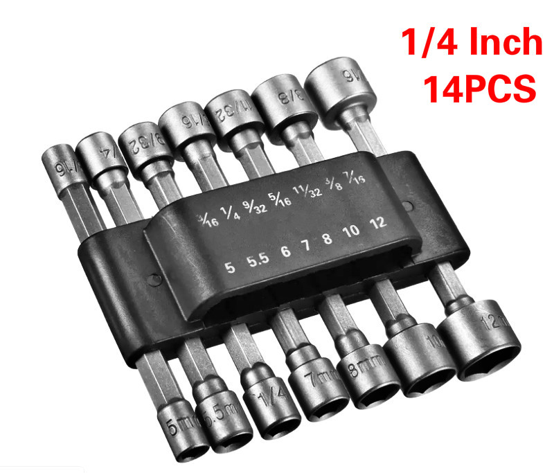 14pcs 1/4 Inch Hex Shank Power Nut Driver Drill Bit Set SAE Metric Socket Wrench Screw Screwdriver Handle Tools No Magnetic