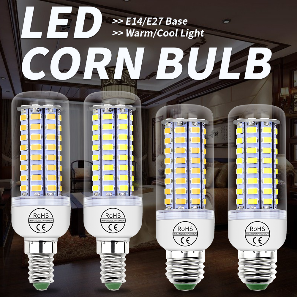 GU10 LED Lamp G9 LED Bulb E27 Corn Bulb E14 Ampoule B22 Candle Light 220V 24 36 48 56 69 72leds Bombillas Chandelier Lighting