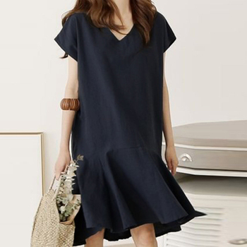 2020 Plusee V-neck Hem Ruffle Solid Color One-piece Ladies Fashion Casual Asymmetrical Dress Simple Simple Dress tie neck contrast binding ruffle dress