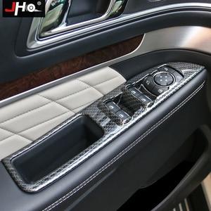 Image 1 - Jho abs grão de carbono painel interruptor de vidro da janela overlay capa guarnição acessórios do carro para ford explorer 2016 2019 2018 2017 esporte