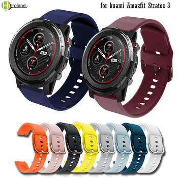 Sport silicone 22mm Watch strap band for huami Amazfit Stratos 3 / Stratos2 2S Pace Smart Wristbands for Samsung Gear S3 Wrist watchbands 22mm sport silicone strap band for samsung gear s3 classic frontier replacement band for huami amazfit stratos 2 2s