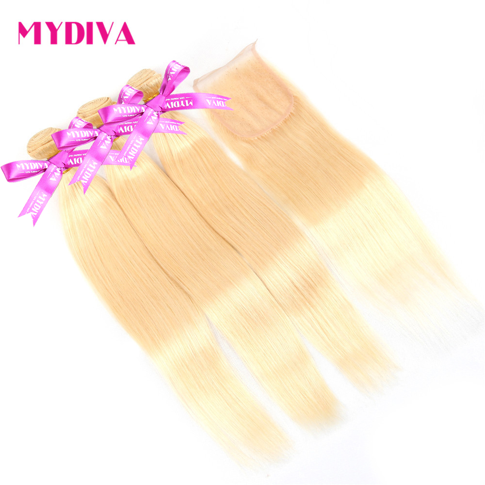 H8dd9313aa94442a1a1fe3641d59ce2ceY 613 Blonde Bundles With Closure Brazilian Straight Hair Bundles With Closure Remy Human Hair Weave Extenstions 10-30 Inch Bundle