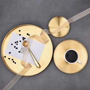 Cocina bandeja de almacenamiento de acero inoxidable organizador de ahorro de espacio Placa de exhibición de joyería forma redonda multifuncional baño oro