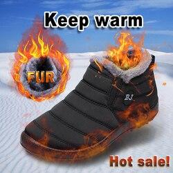 Homens botas de inverno à prova dwaterproof água sapatos de pele quente botas de neve de pelúcia dentro sapatos de inverno preto botas para homem mais tamanho mans calçado