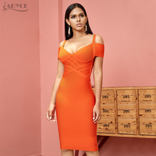 Adyce novo verão bandage vestido feminino vestidos 2020 sexy laranja v pescoço fora do ombro bodycon clube vestido midi celebridade festa vestido
