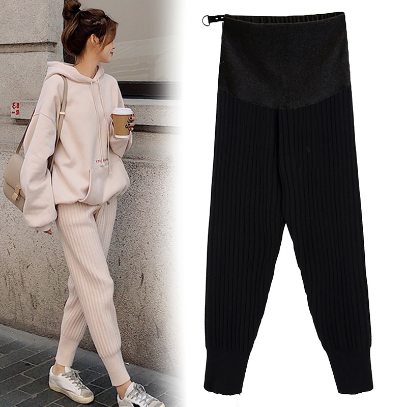 8908# 2020 Autumn Winter Thicken Maternity Pants High Waist Adjustable Belly Pants Clothes for Pregnant Women Pregnancy Trousers