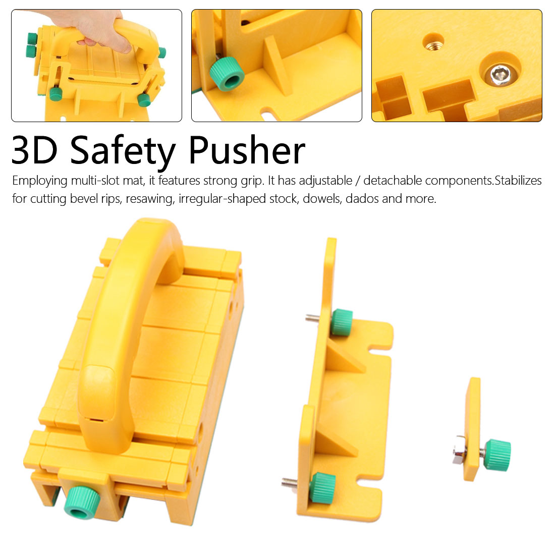3D Safety Pusher Woodworking Flip Table Saw Vertical Milling Planer Saw Pusher Safety Feeder