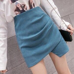 Image 2 - HELIAR jednolite, nieregularne spódnica Hem A Line Micro spódnica na plażę styl Preppy spódnica z plisowaną spódnica z wysokim stanem dla kobiet 2020 lato