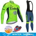 사이클링 저지 tinkoff 2019 겨울 열 양털 바지 턱받이 세트 mtb 자전거 maillot ropa ciclismo hombre mountain bike