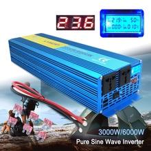 Цифровой дисплей 3000 Вт 6000 Вт пик чистая Синусоидальная волна инвертор постоянного тока 24 В в переменный ток 220 В 230 в 240 в преобразователь питания солнечной энергии
