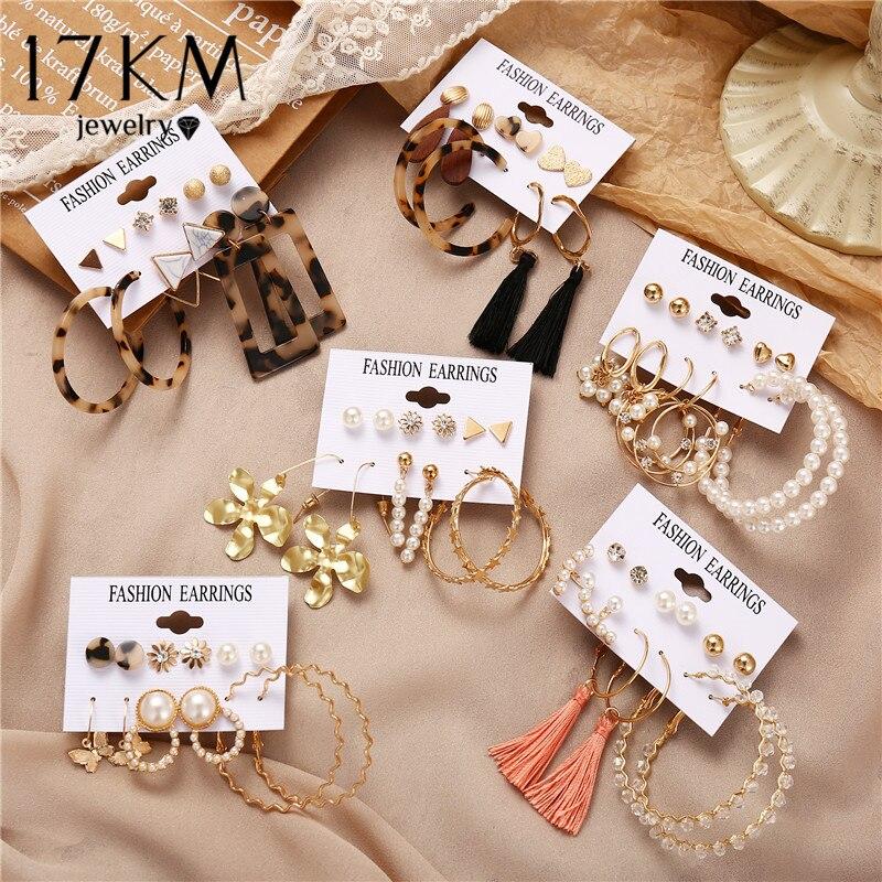 17 км Модный жемчужный Золотой Комплект сережек для женщин Акриловые цветочные серьги капли винтажные геометрические круглые серьги 2020 новые ювелирные изделия|Серьги-подвески|   | АлиЭкспресс - Топ украшений с Алиэкспресс