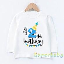 Crianças é meu 1st-9th aniversário número imprimir t camisa do bebê meninos meninas dos desenhos animados engraçado encabeça crianças camiseta de manga longa, lkp2432