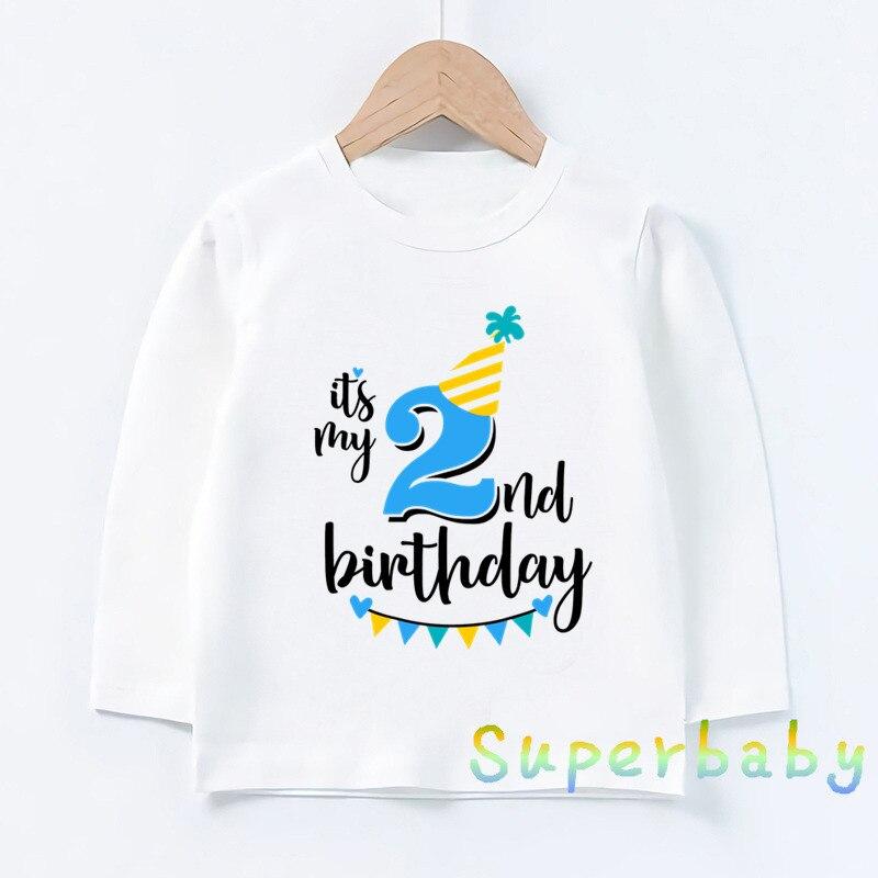 Dzieci to mój 1-9 numer urodzinowy drukuj T shirt dla dzieci chłopcy dziewczęta Cartoon śmieszne koszulki dla dzieci z długim rękawem T-shirt,LKP2432