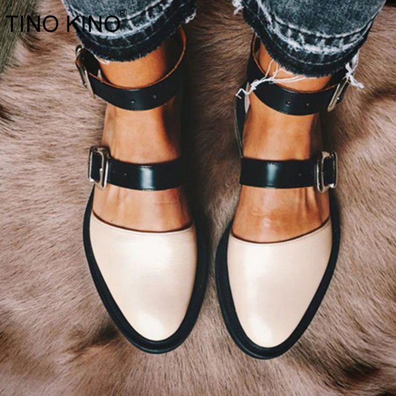 Women Ankle Strap Buckle Flat Mary Janes Spring Ladies Platform Casual Comfort Female Round Toe Footwear Fashion Plus Size