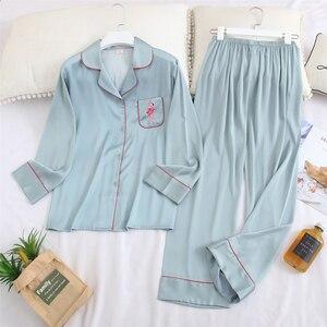 Image 3 - Fiklyc underwear long sleeve 2020 spring womwn pejamas pijamas invierno mujer silk pijama flamingo satin pajamas sets conjuntos