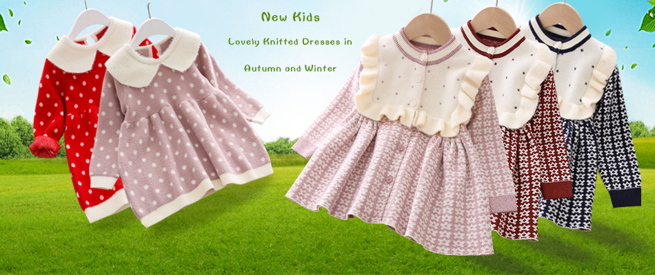 H8dda55259edf4219827ae61f129ad31aj Girls Knitted Dress 2019 autumn winter Clothes Lattice Kids Toddler baby dress for girl princess Cotton warm Christmas Dresses