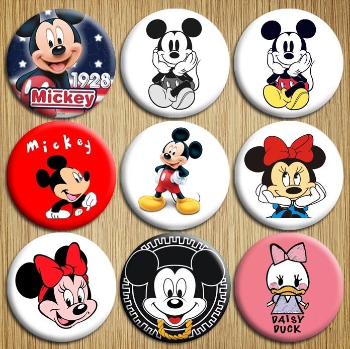 Genuine Mickey Mouse Badge Pin Anime Action Figures Cartoon Clothes Dress Toys For Birthday Party Toy Girl Kids Gift Prize