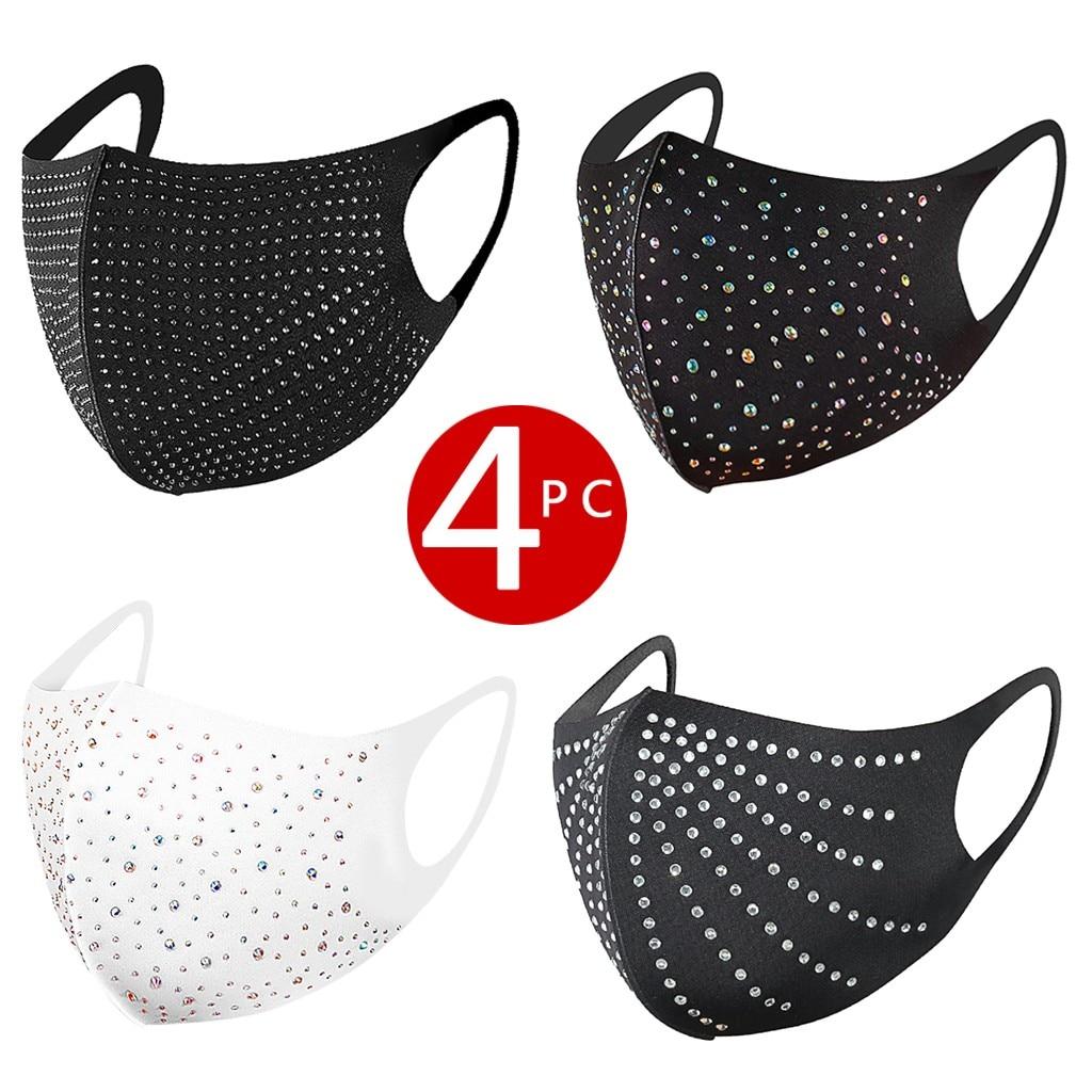 Комплект из 4 предметов Для женщин, для занятия спортом на природе пыле хлопковая Футболка с изображением маски PM2.5 бриллиантами дышащие сан...