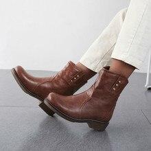 women mid-calf boots chunky low heels autumn warm slip on shoes woman  booties wxz147 цена 2017