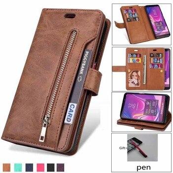 Retro Zipper Wallet For Samsung S7 S8 S9 S10 note10 Note8 Note9 J5 A3 A5 2017 J3 J4 J7 J6 A6 J8 A750 2018 Cover Phone Case