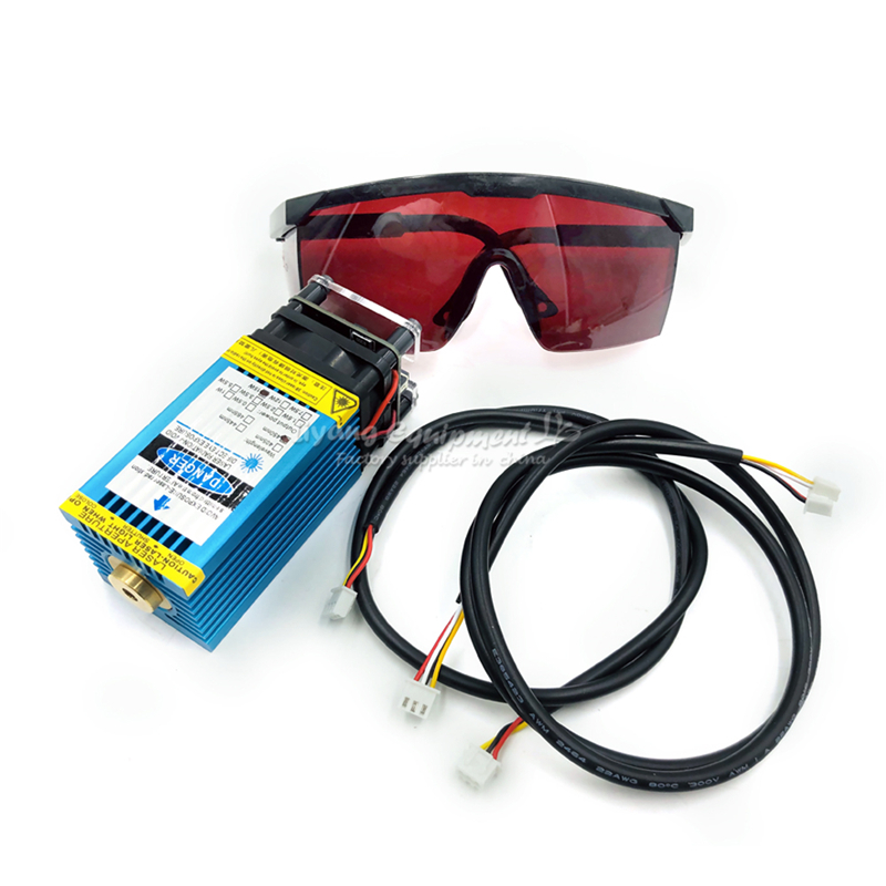 <font><b>diode</b></font> <font><b>laser</b></font> module head TTL PMW mix control forced air cooling 405NM <font><b>450NM</b></font> blue purple <font><b>laser</b></font> with goggles wires image