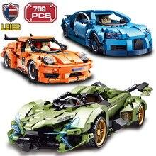 Leier alta-tecnologia blocos de construção velocidade de corrida super carro modelo diy verde carro clube tijolos brinquedos para crianças meninos presentes de aniversário