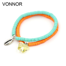 Fashion Woman Bracelet Cute Single Color Fimo Bracelet with Alloy Shell Crystal Pendant Bracelets Jewelry for Female Girl Gift fine lavender purple natural crystal bracelets fox pendant evil spirits help marriage lucky for women girl gift bracelet jewelry