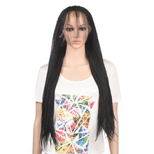 Long Braided Box Braids Synthetic Lace Front Wig Heat Resistant Fiber Hair 13X3 Black