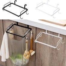 Портативный держатель мусорного мешка подвешивается на кухонный шкаф дверь назад стиль стенд мусор мешки для мусора стеллаж для хранения, черный белый