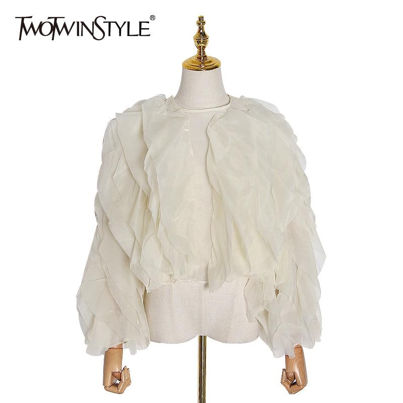 TWOTWINSTYLE Elegant Patchwork Ruffles Chiffon Blouses Women O Neck Lantern Long Sleeve Loose Shirt Female Clothing 2020 Fashion