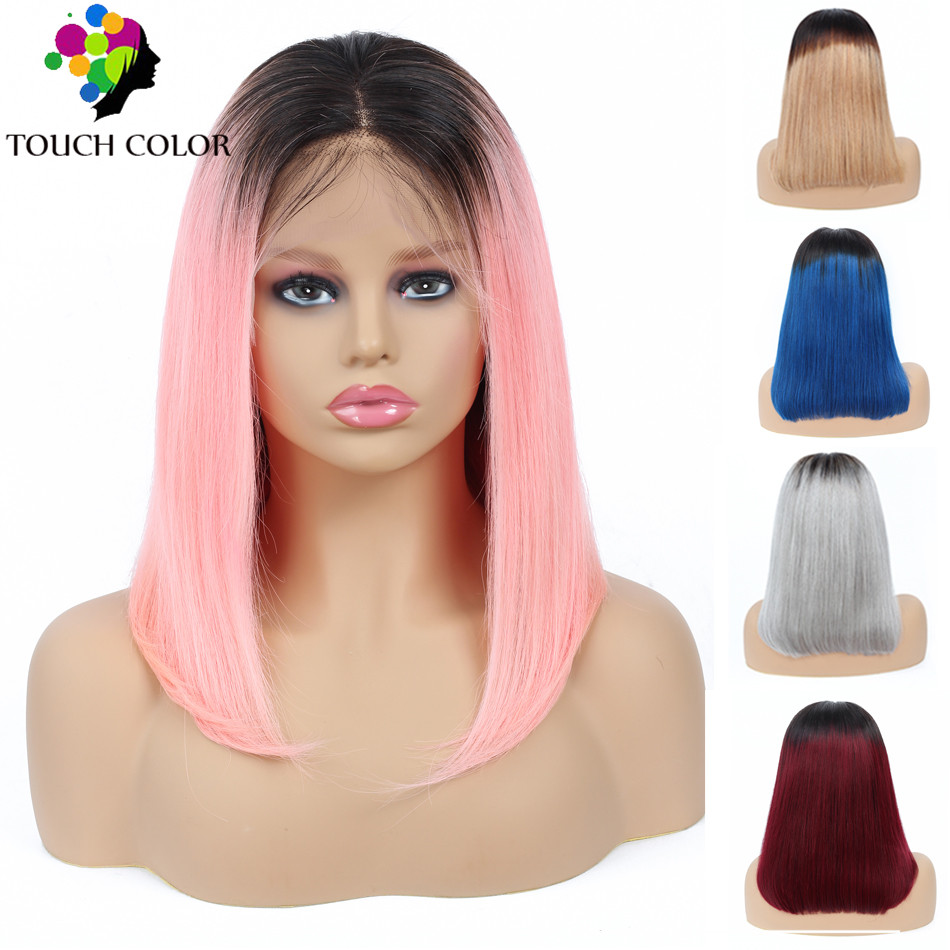 Ombre Straight Short Bob Wigs Indian Remy Hair Lace Front Human Hair Wig For Black Women Lace Front Wig Blonde Blue Pink