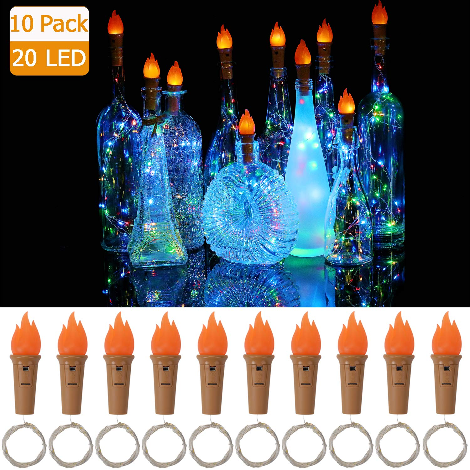 10 Pack 20 LED 6.6ft Wine Bottle Lights With Torch Battery Powered Cork Lights For Bottles Copper Wire String Lights Party Decor