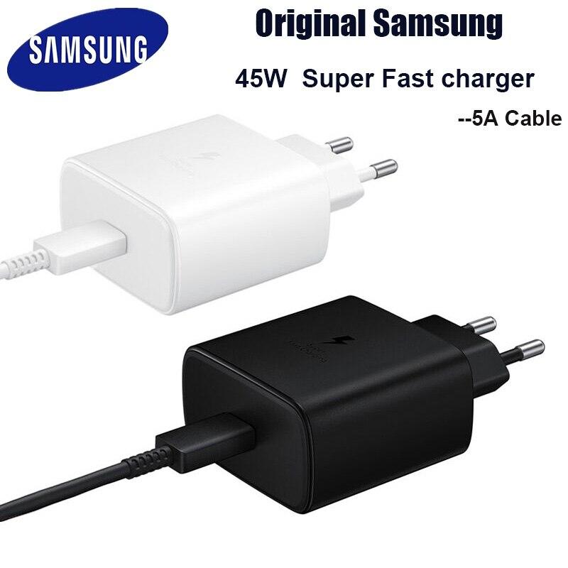 Оригинальное быстрое зарядное устройство Samsung 45 Вт, быстрый адаптер, кабель типа C для Samsung GALAXY Note 10 20 S20 Plus S20 Ultra S21 A71 A80 A91