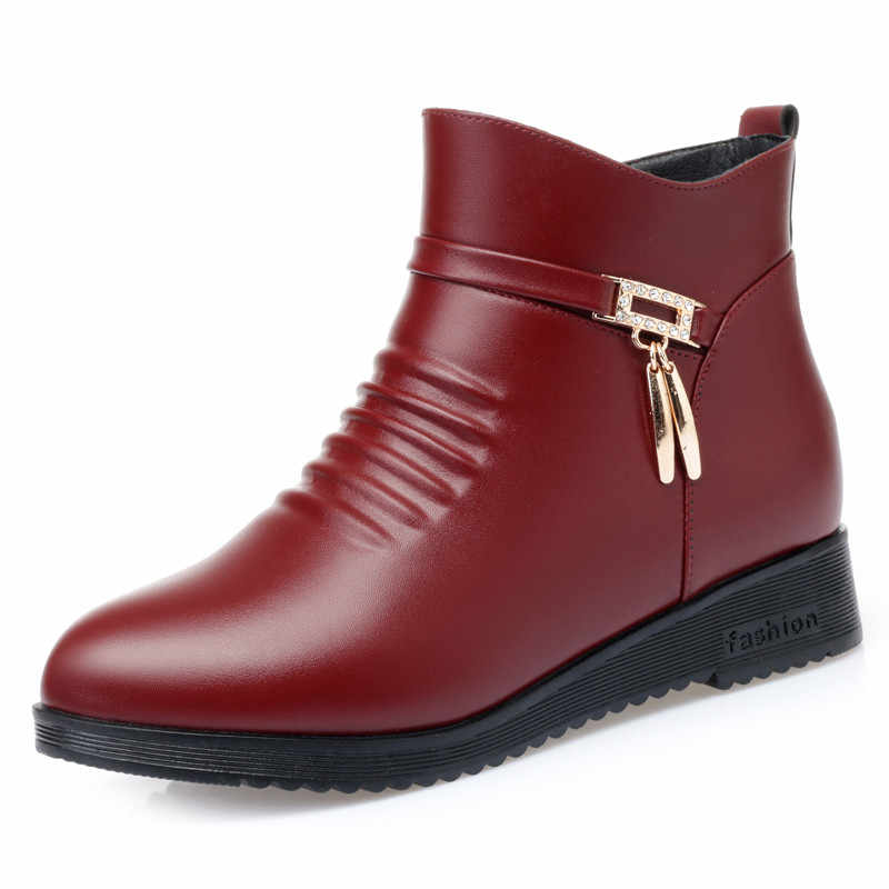 PINSEN 2019 yeni kış kadın çizmeler yüksek kaliteli sıcak tutmak yarım çizmeler rahat moda anne çizmeler Botas Mujer