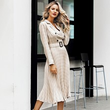 Vintage pleated belt plaid dress women Elegant office ladies blazer dresses Long sleeve female autumn midi party dress(China)