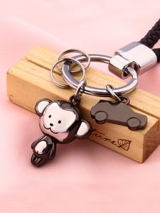 Image 4 - Milesi Lovers Keychain Monkey Shape Key Pendant Rhinestone Women Key Finder Fashion Men Car Keyring Cute Couple Gift K0197