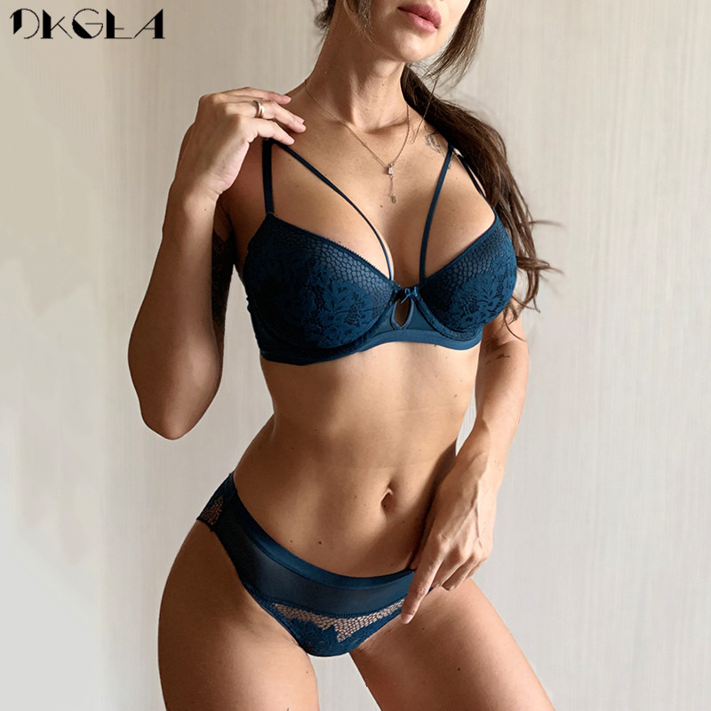 Fashion Bandage Black Push Up Bra Set Sexy Lingerie Lace Embroidery Brassiere Gather Thick Cotton Underwear Set Women Bras Green