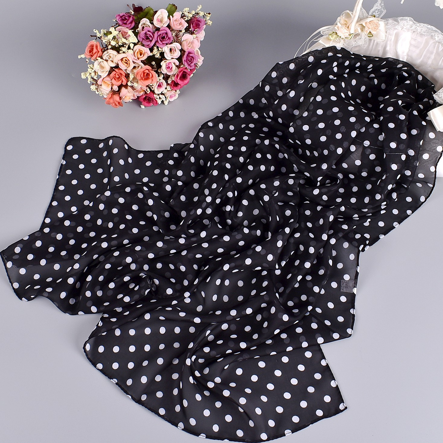New Style Polka Dot Women's Chiffon Long Silk Scarf Spring And Summer Printed Scarf Shawl High Quality Women Fashion