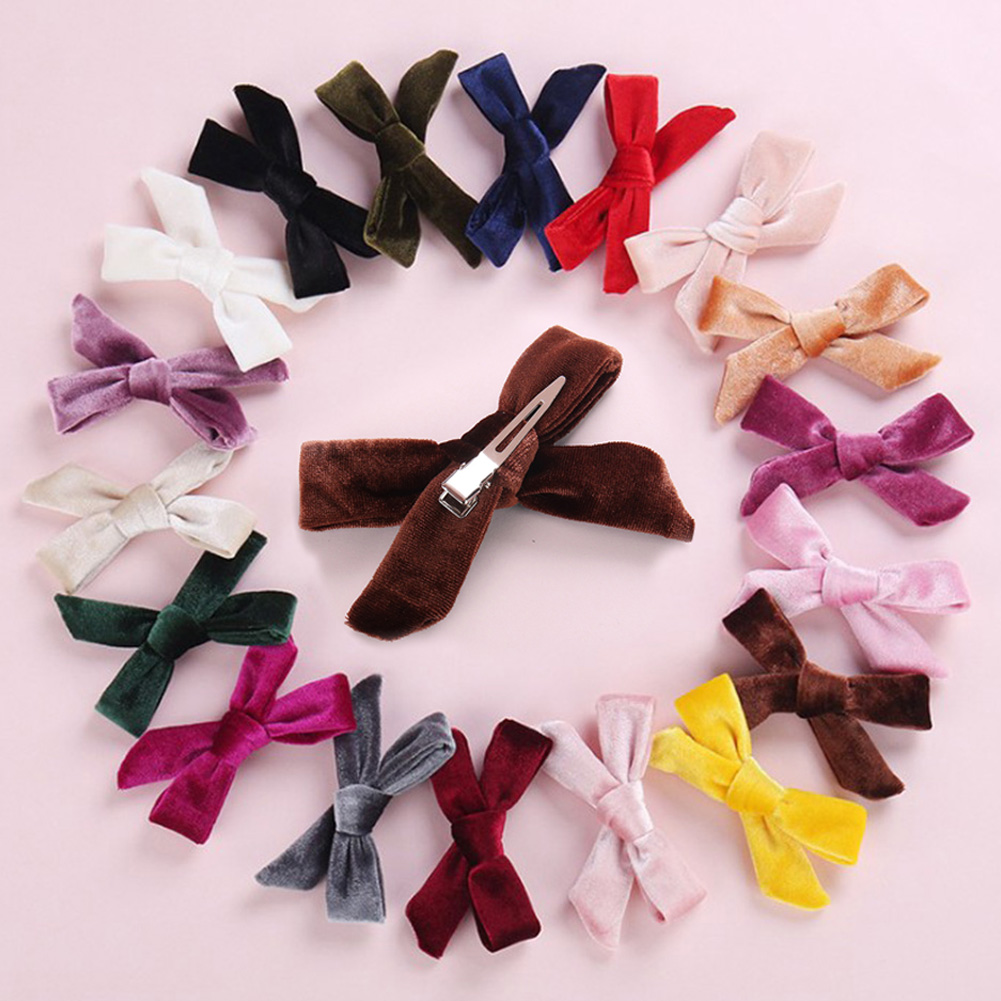 Girls Velvet Bow Hairpins Solid Cross Knot Hair Clip Rubber Band Hair Accessory