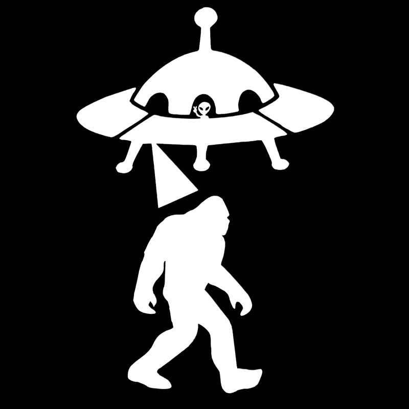 Volkraysสติกเกอร์รถความคิดสร้างสรรค์SasquatchการลักพาตัวUFO Alien Bigfootอุปกรณ์สะท้อนแสงไวนิลรูปลอกสีดำ/เงิน,13 ซม.* 8 ซม.