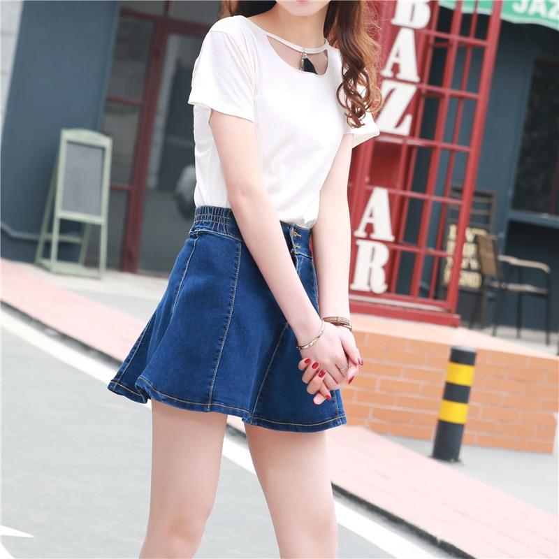 Denim Skirt Skirt Women's Elasticity Women's Summer 2017 South Korea Students High-waisted A- Line Skirt Cowboy Skirt